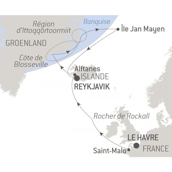 itinéraire de la croisière inaugurale Commandant Charcot